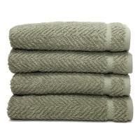 Herringbone Four-Piece Hand Towel Set - Light Olive