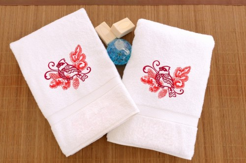 Embroidered Hand Towels with Cardinal and Pine Bough Echo (Set of 2)