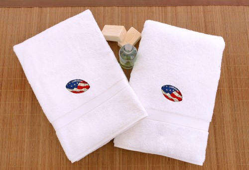 Embroidered White Hand Towels - Football (Set of 2)