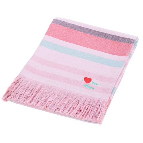 """I Love You Mom"" Embroidered Amalfi Pestemal Towel"