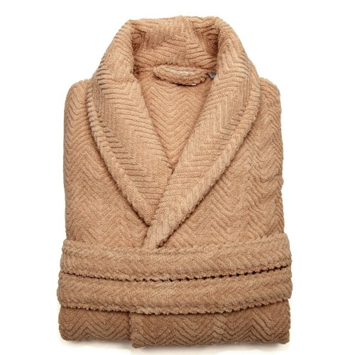 Herringbone Bathrobe Collection - Warm Sand
