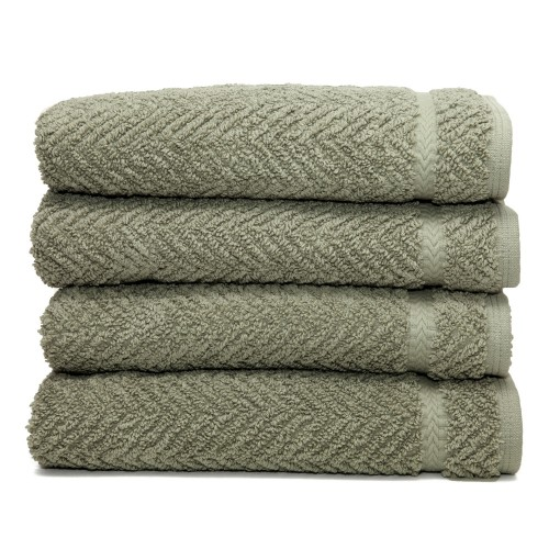 Herringbone Four-Piece Hand Towel Set - Light Olive