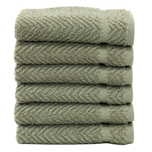 Herringbone Six-Piece Washcloth Set - Light Olive