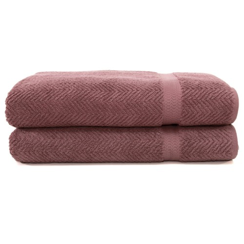 Herringbone Two-Piece Bath Towel Set - Sugar Plum