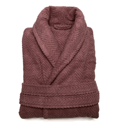 Herringbone Bathrobe Collection - Sugar Plum