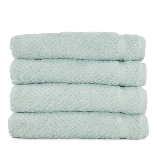 Herringbone Four-Piece Hand Towel Set - Soft Aqua