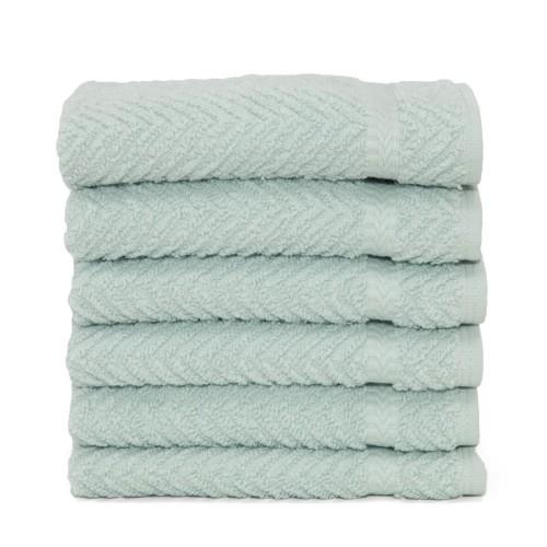 Herringbone Six-Piece Washcloth Set - Soft Aqua