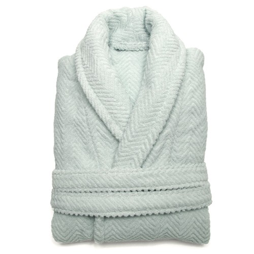 Herringbone Bathrobe Collection - Soft Aqua