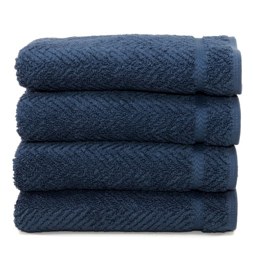 Herringbone Four-Piece Hand Towel Set - Midnight Blue