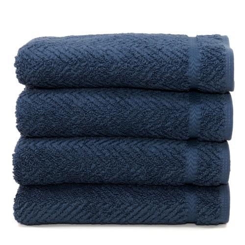 Herringbone Four-Piece Hand Towel Set - Midnight Blue