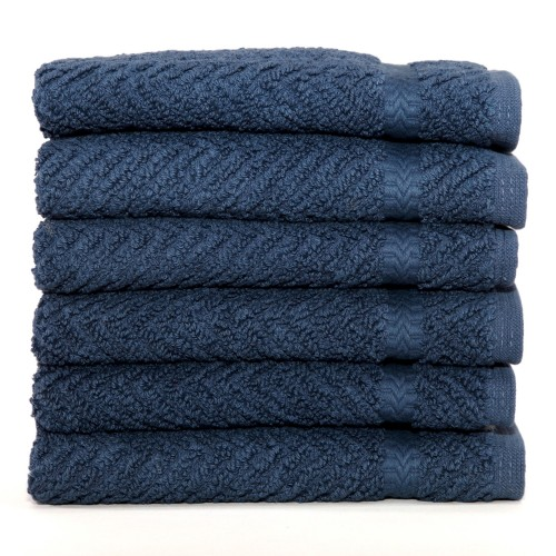 Herringbone Six-Piece Washcloth Set - Midnight Blue