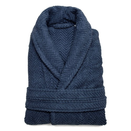 Herringbone Bathrobe Collection - Midnight Blue