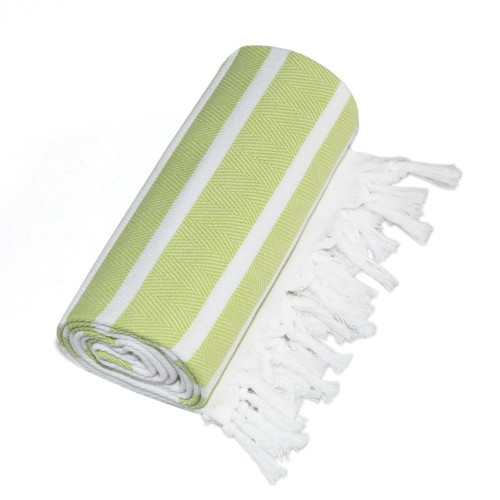 Herringbone Pestemal - Pistachio Green & White