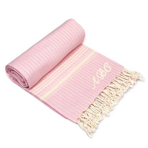 Luxe Herringbone Pestemal - Powder pink with natural color - Monogram