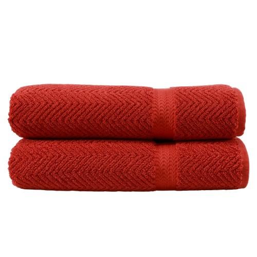 Herringbone Two-Piece Bath Towel Set - Terra Cotta