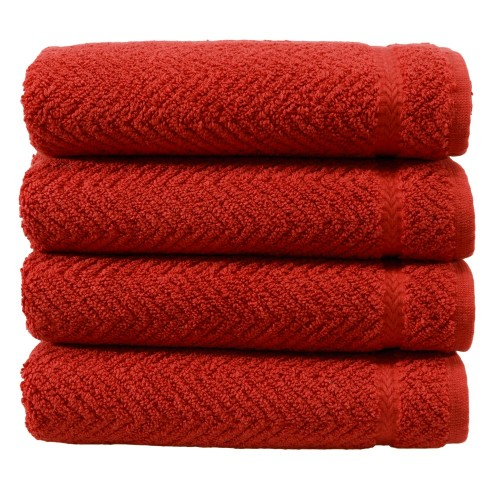 Herringbone Four-Piece Hand Towel Set - Terra Cotta