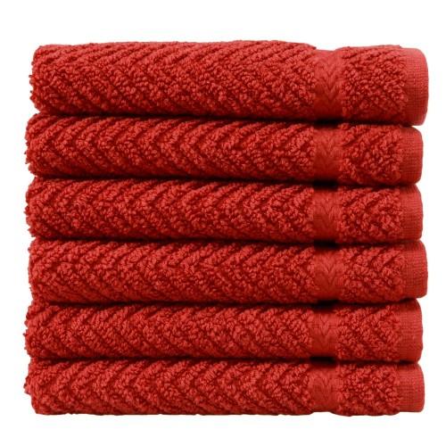Herringbone Six-Piece Washcloth Set - Terra Cotta