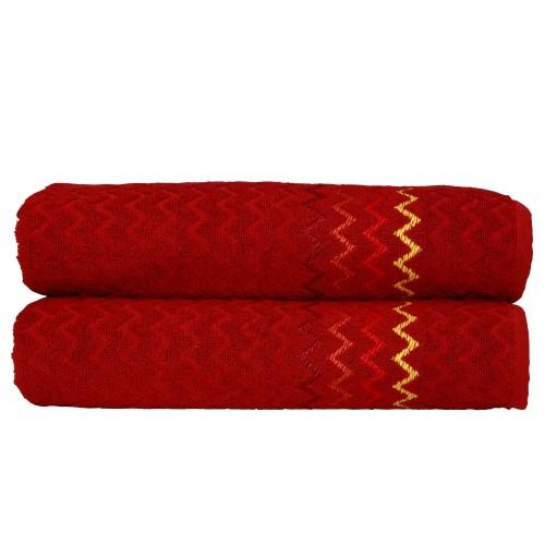 "Montauk ""Chevron"" Bath Towel - Burgundy (Set of 2)"
