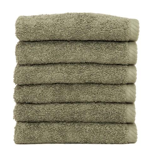 Soft Twist Six-Piece Washcloth Set - Light Olive