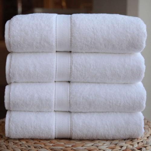 Four-Piece Bath Towel Set  White Terry