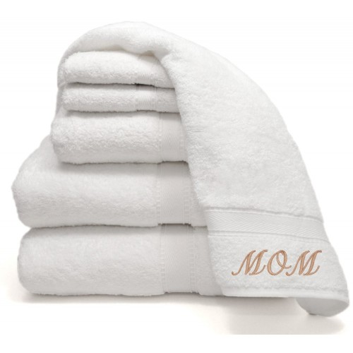 "Six-Piece Combination Set with Two ""Mom"" Monogrammed Hand Towels"