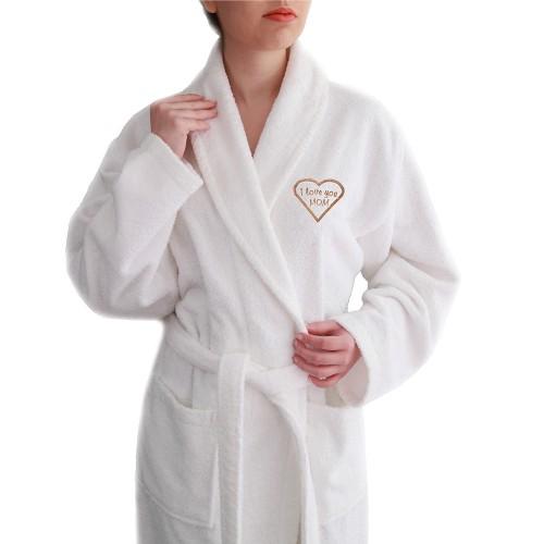"""I Love You Mom"" Embroidered White Terry Bathrobe - Melange"