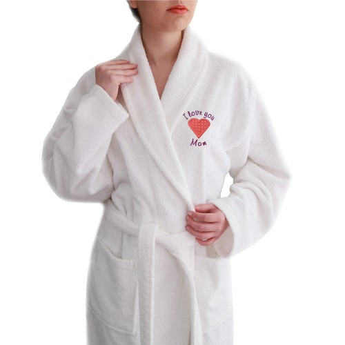 """I Love You Mom"" Embroidered White Terry Bathrobe - Pink Heart"