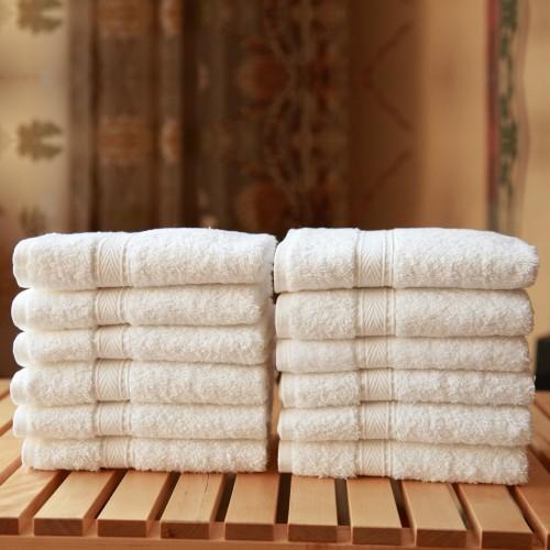 Twelve-Piece Washcloth Set  White Terry