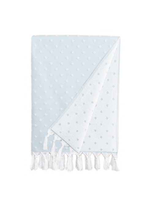 Ephesus Pestemal Towel - Polka Dot  Design - Soft Aqua