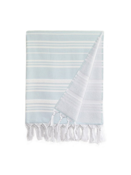 Ephesus Pestemal Towel - Stripy  Design - Soft Aqua