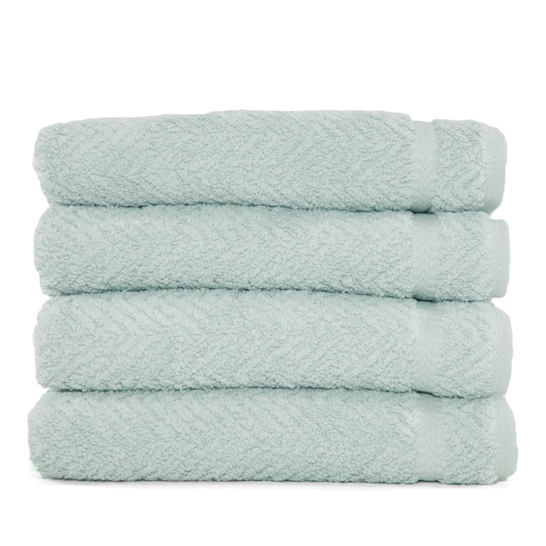 Herringbone Four Piece Hand Towel Set Soft Aqua