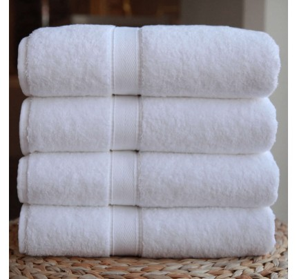 Four-Piece Bath Towel Set  White Terry