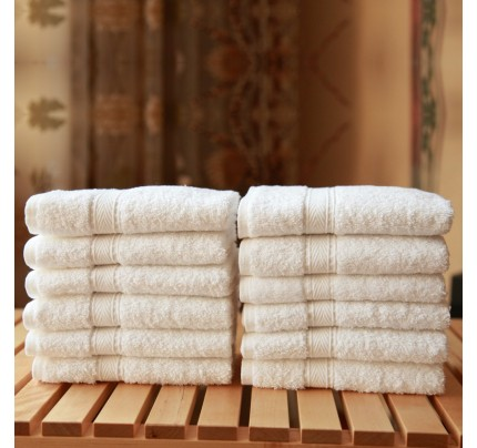 Twelve-Piece Washcloth Set  White Terry